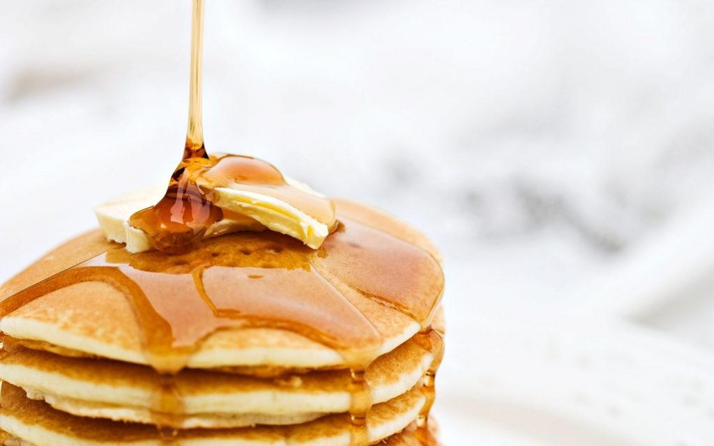 pancakes shot with maple syrup